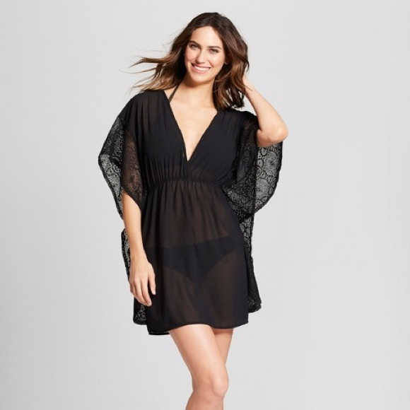 8b134f9243334 Crochet Chiffon black swim Cover-Up